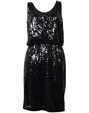 Jessica Simpson Women's Sequin Scoop Neck Dress