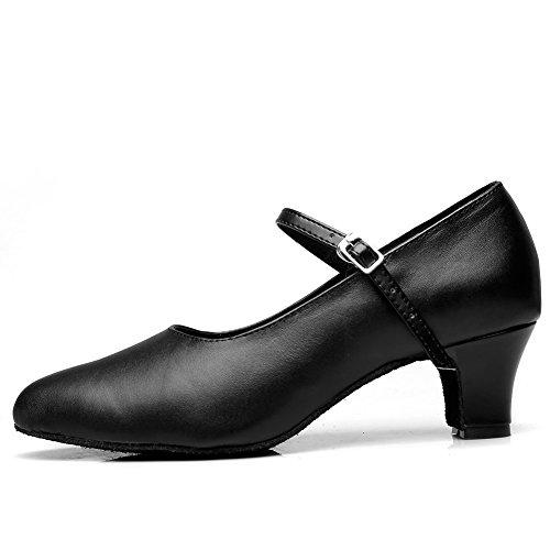 MSMAX Classic Black Leder Charakter Tanzschuhe für Frauen 5cm Absatz schwarz