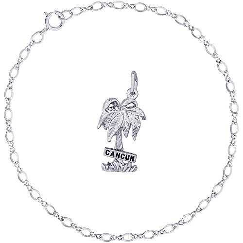 Rembrandt Charms Sterling Silver Cancun Palm Tree Charm on a Classic Link Bracelet, 7