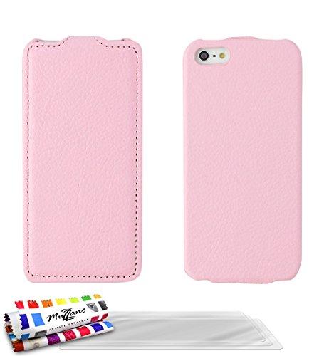Flip-Case APPLE IPHONE 5S / IPHONE SE [Open Flip Premium] [Rosa] von MUZZANO + 3 Display-Schutzfolien UltraClear + STIFT und MICROFASERTUCH MUZZANO® GRATIS - Das ULTIMATIVE, ELEGANTE UND LANGLEBIGE Sc