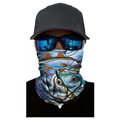 5bceb4c4bb80 DEESEE(TM) Fish PrintNeutral Outdoor Head Scarf Neck Windproof Face Mask  Sun Protection Headband