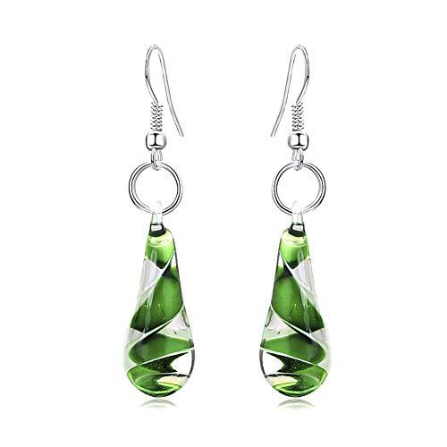 GIMEFIVE Handmade Water Drop Shape Spiral Lampwork Fashion Glass Bead Pendant Dangle Earrings (Green)