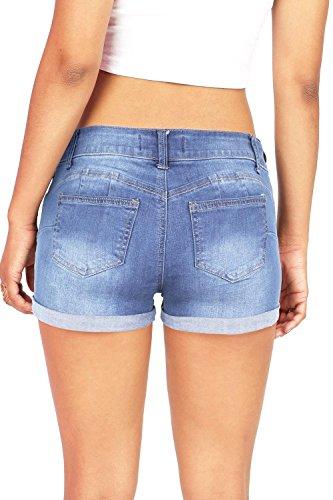 con Vintage Short Casuale Tasche Azzurro Corti Denim Vita Pants Estate Donne Pantaloncini Jeans Hot Ragazza Alta Tomwell 0TqW6UgwxI