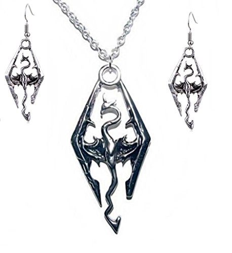 New Horizons Production The Elder Scrolls Skyrim Dragon Logo Pendant Necklace W/ Earrings