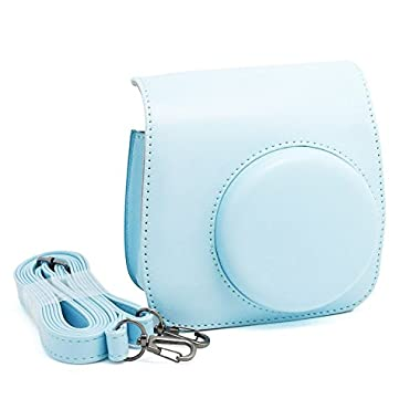 Fan Le Soft Leather Camera Travel Case Bag with Adjustable Shoulder Strap and Pocket For Fujifilm Instax Mini 8 Cameras (Blue Case )