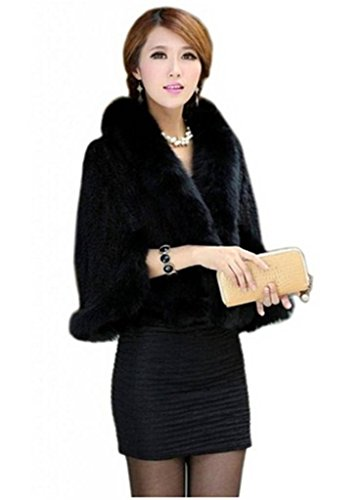 Fur Womens Mink Coat - YR Lover Women's Real Mink Fur Warm Stole Cap With Big Fur Collor