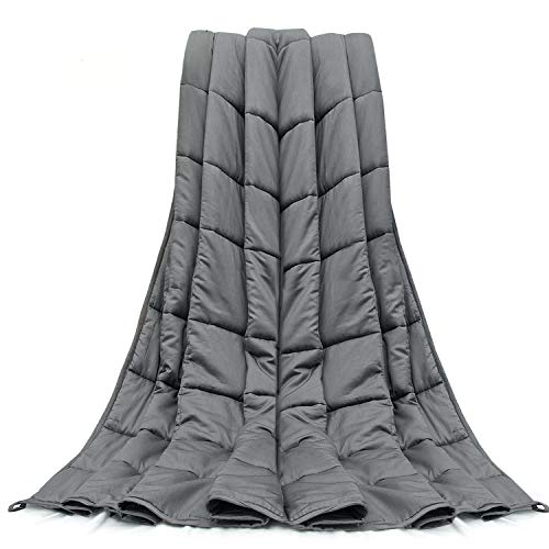 Cheap Weighted Blanket 12 LBS 48X72 Twin Full Size Soft Comfortable Breathable 100% Cotton Heavy Blanket Washable Glass Beads for (100-140 LB Person) Kids Adult Man Woman Grey Black Friday & Cyber Monday 2019