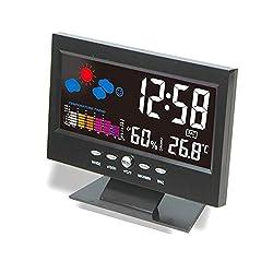 WINOMO Digital Alarm Clock Backlight LCD Morning Clock Soft Light Snoozewith Thermometer Hygrometer Temperature Meter Calendar - Black