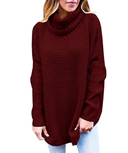 Flawerwumen Womens Chunky Turtleneck Cozy Sweater Fall Long Sleeve Knit Loose Oversized Pullover Tops by Flawerwumen