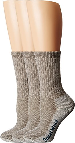 Smartwool Women's Hike Medium Crew 3-Pack Taupe Socks MD (Women's Shoe 7-9.5)