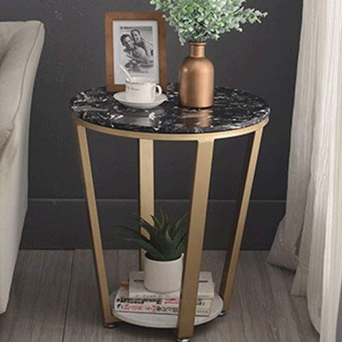 DJISS Nordic Bedside Table Marble Coffee Table Golden Wrought Iron Side Living Room Small Round Table Balcony Table Simple Sofa Corner Several Bedside Table (Color : Black)