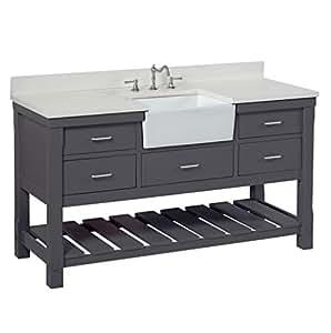 Charlotte 60-inch Single Bathroom Vanity (Quartz/Charcoal ...