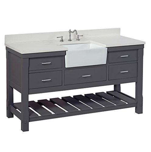 Charlotte 60-inch Single Bathroom Vanity (Quartz/Charcoal Gray): Includes a White Quartz Countertop, Charcoal Gray Cabinet with Soft Close Drawers, and White Ceramic Farmhouse Apron Sink