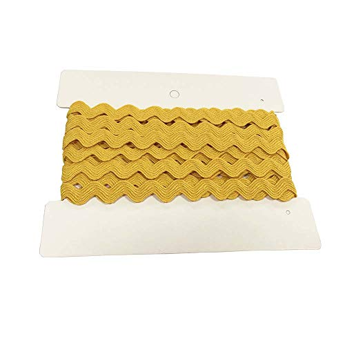 Rick Rack Trim 12mm Width Polyester Baby Ric Rac Trim Gold Yellow, 5M per Cards