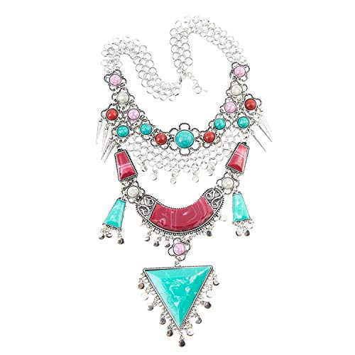 Miraculous Garden Womens Vintage Alloy Silver/Gold Long Boho Bohemian Necklace Ethnic Tribal Boho Necklace Geometry Red Turquoise Beads Statement Necklace (Antique Silver) ()