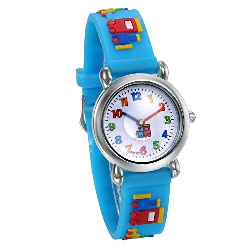 JewelryWe Watch for Girls Boys Easy Reading Times Teacher Silver Case Blue Rubber Kids - Watch Shop Reading