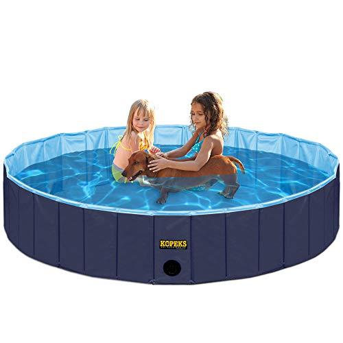 🥇 KOPEKS Piscina Grande Infantil Ideal para Niños/Mascotas Perros 120 x 30 cm – Azul Marino y Celeste – L