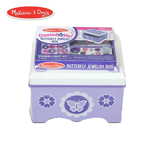 Melissa & Doug Created by Me! Purple Wooden Butterfly Jewelry Box Craft Kit