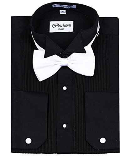 Men's Classic Tuxedo Wing Tip Dress Shirt With Bowtie In Black And White by Berlioni