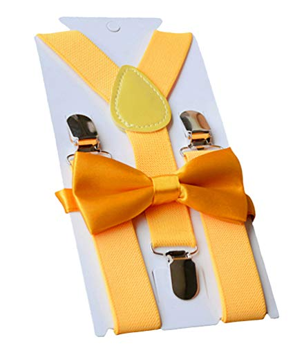 UDRES Unisex Kid Boys Girls Adjustable Bow tie & Suspender Sets (One Size, Yellow)