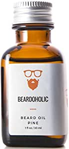 Beardoholic Beard Oil – 7 All-Natural Ingredients – Faster and Thicker Beard Growth – Eliminates Itch and Dandruff Instantly – Pine Scented Beard Growth Oil - 30 ml Leave-in Conditioner and Softener