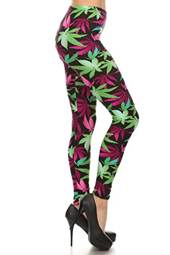 World of Leggings Fuchsia Marijuana Leaf Leggings