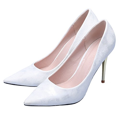 Fereshte Womens Snake Grain Sexy Slip-toe Slip On Eleganti Tacchi Alti Ol Pumps Bianco