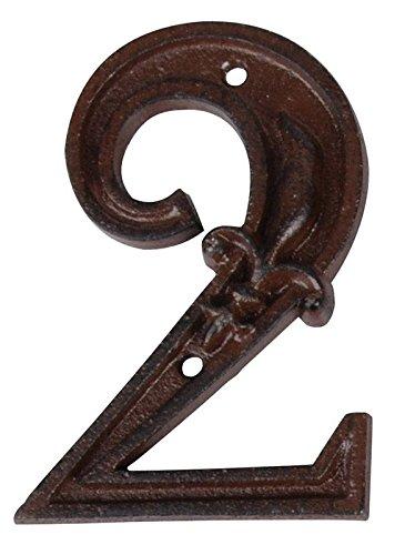 se Number 2, 4.72 inch, Address Number Sign,Antique Brown, Rust Finish with Fleur De Lis Embossed (Antique Brick Finish)