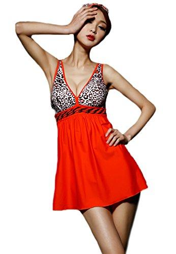 Summer Mae Women's Plus Size Leopard Print Bodice Empire Swimdress Orange Tag 2XL(US S)