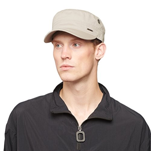 Cotton Military Cap Hat - CACUSS Men's Cotton Army Cap Cadet Hat Military Flat Top Adjustable Baseball Cap(Beige)