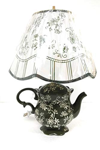 Temp-tations Night Light, Teapot Shaped Lamp with Shade and Bulb (Floral Lace Green)