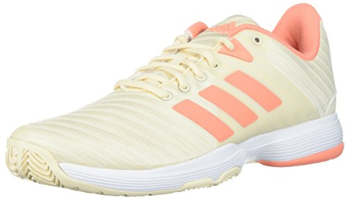 adidas Women's Barricade Court w Tennis Shoe, White/Matte Silver/Grey Two, 6.5 M US
