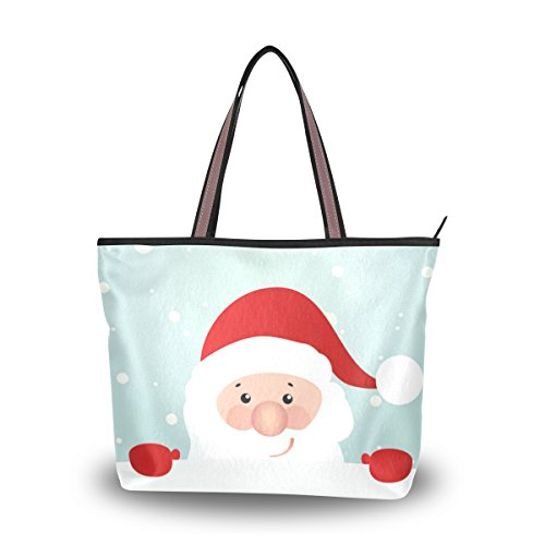 La Random Retro Styled Christmas Santa Claus Large Handbag Tote Shoulder Bags for Women Ladies (Large Handbag Styled)