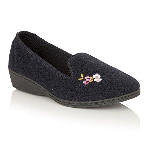 Lotus Damen Rosarie Hausschuhe Blau (Marineblau)