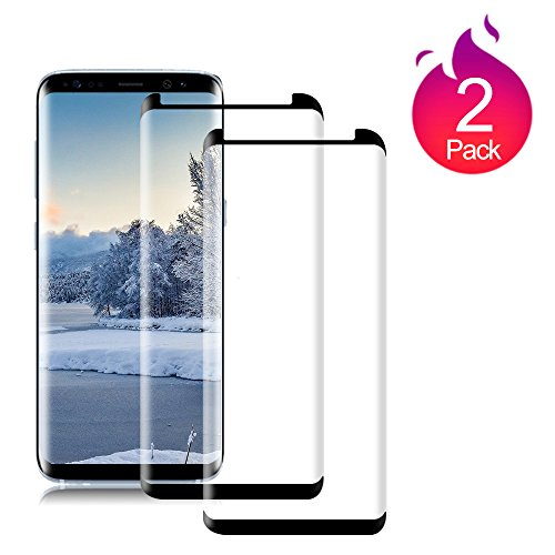 Loopilops Samsung Galaxy S8 [2 Pack] Screen Protector 3D Curved Tempered [Anti-Bubble][9H Hardness][HD Clear][Anti-Scratch][Case Friendly] Glass Screen Film Samsung Galaxy S8 Black