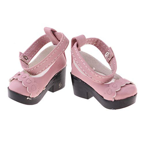 Prettyia 1 Pair PU Leather Shoes for 1/4 BJD Girl Dolls Clothes Dress Up Accessory (Pink)