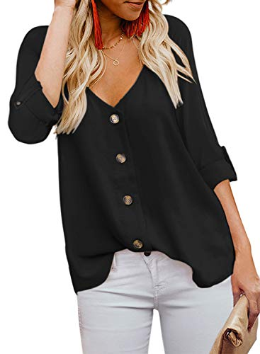 BLENCOT Women's Fall Button Down V Neck Strappy Long Sleeve Shirts Tops Casual Loose Blouses Black M (Chiffon Casual Fashion Women)