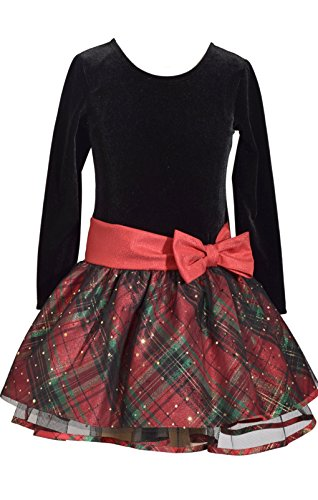 Bonnie Jean Long Sleeve Christmas Dress with Black Velvet and Red Tartan Plaid 5Y