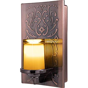 GE LED CandleLite Night Light, Plug-In, Dusk-to-Dawn Sensor, Auto On/Off, Flickers Like a Real Candle, Warm Amber Light, Energy Efficient, Guide Light, Decorative, Oil-Rubbed Bronze Finish, 11258