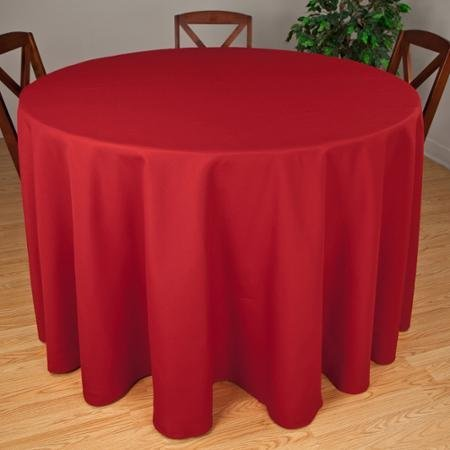Riegel Premier Hotel Quality Tablecloth, 132'' Round, Red