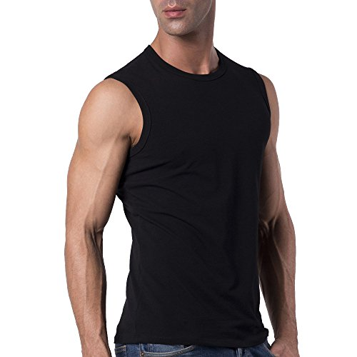 Sleeveless Crew Tee - Mens Slim Fit Crew Neck Sleeveless T-shirt / Black / M (38