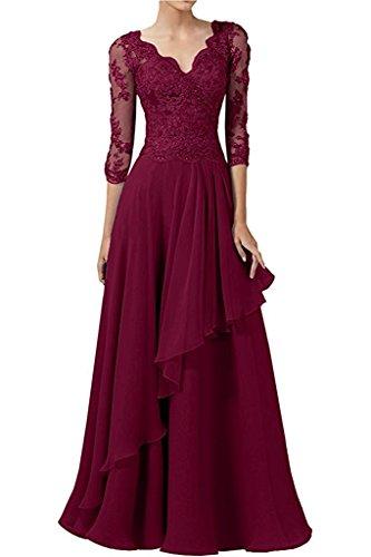 Damen Spitze Abendkleider Abschlussballkleider La Langarm Braut Braun Weinrot Festlichkleider mia Promkleider Partykleider RHxwwtqIv