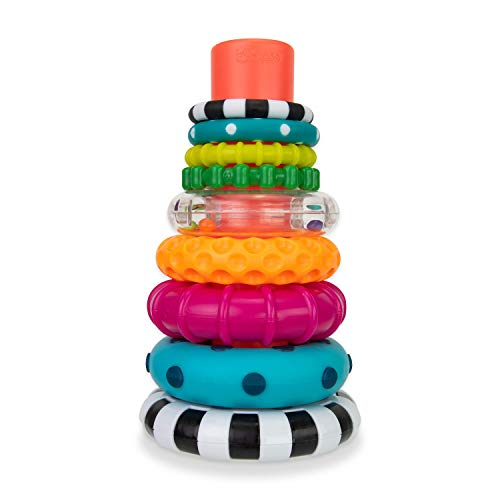 Sassy Stacks of Circles Stacking Ring STEM Learning Toy, 9 Piece Set, Age 6+ Months