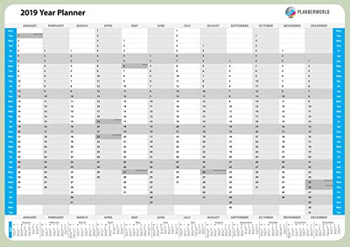 2019 laminated modern design wall year planner  rolled up