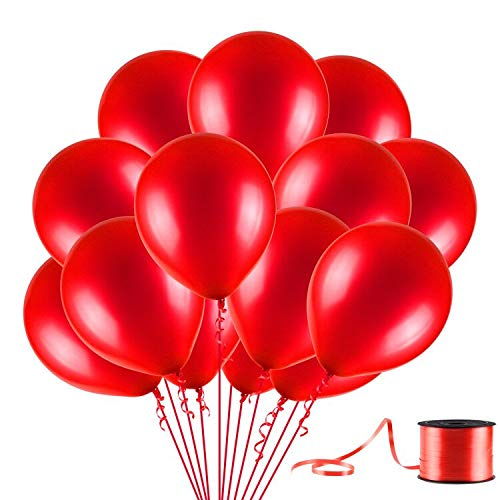 U_star 100 Pack Red Balloons, 12inches Premium Helium Quality Red Balloons Red Shiny Latex Balloons for Party Supplies and Decorations(with Red -