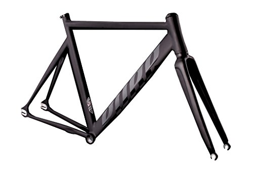 Pure Cycles Keirin Pro Track Triple-Butted 6061 Aluminum Bike Frameset, Preston Matte Black, 55cm/Medium ()