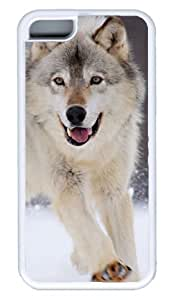 Diy iphone 5 5s case DIY Rubber White Best FashionIphone 5 5S Gray Wolf Running In The Snow
