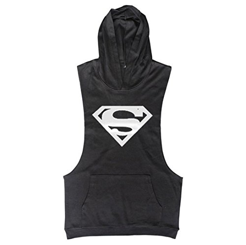 TECOFFER Bodybuilding Stringer Mens Hoodie Sleeveless T-Shirts Workout Fitness Gym Tank Top (Black, L)