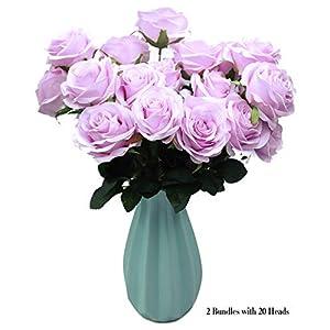 DAMOOSS Purple Rose Flower Bouquet 2 Bundles with 20 Heads,Artificial Silk Rose Flower Perfect for Birthdays, Wedding or Anniversary 27