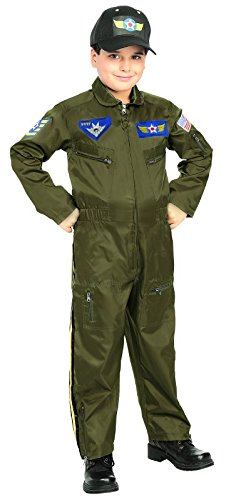 Rubie's Costume Co Kid Air Force Fighter Pilot Top Gun Halloween Costume M Boys Green Medium (5-7 years) ()